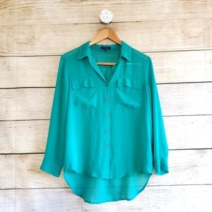 Timing Button Down Long Sleeve Sheer Blouse Small